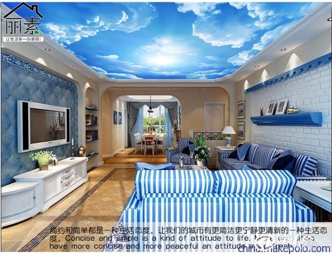 佰晟大型壁畫 3d電視背景墻壁紙臥室客廳簡約無紡布墻紙海洋