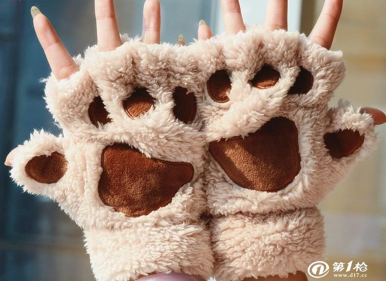 暴爪手套 女 冬可爱卡通猫咪爪子手套 女士冬季情侣手套 礼物