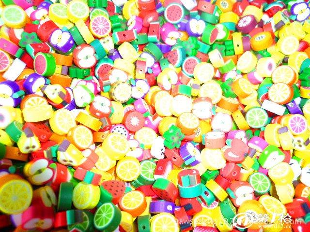切片,圆珠,软胶花,软陶花,指甲贴,水果条,软陶蛋糕,小动物,戒指,手链