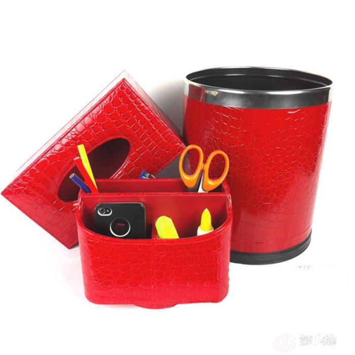 家居收纳盒 垃圾桶 纸巾盒 抽纸盒 高端高档皮质套装图片