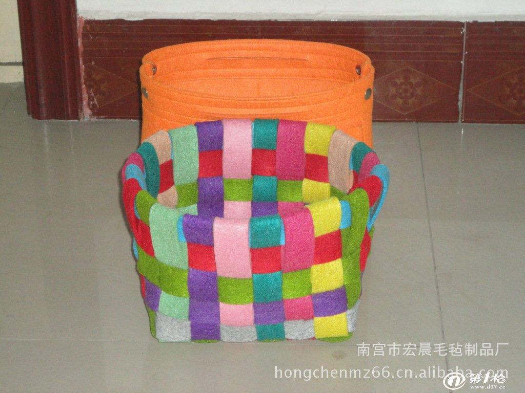 厂家供应 手编毛毡收纳篮 纯手工编织 毛毡布材料
