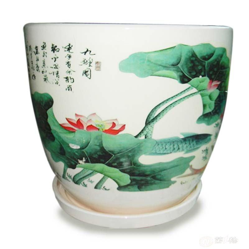 山水风景陶瓷滚压德化中温大套三花盆, 陶瓷工艺品 陶瓷大花盆