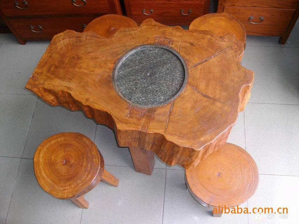 中式古典家具/原木家具/实木家具/樟木随形茶桌配圆