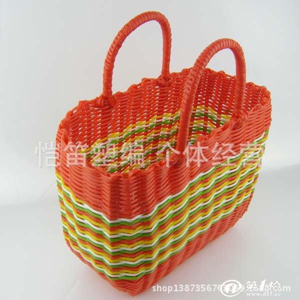 塑料管纯手工编织菜篮子 编制收纳篮 超市购物篮特大号
