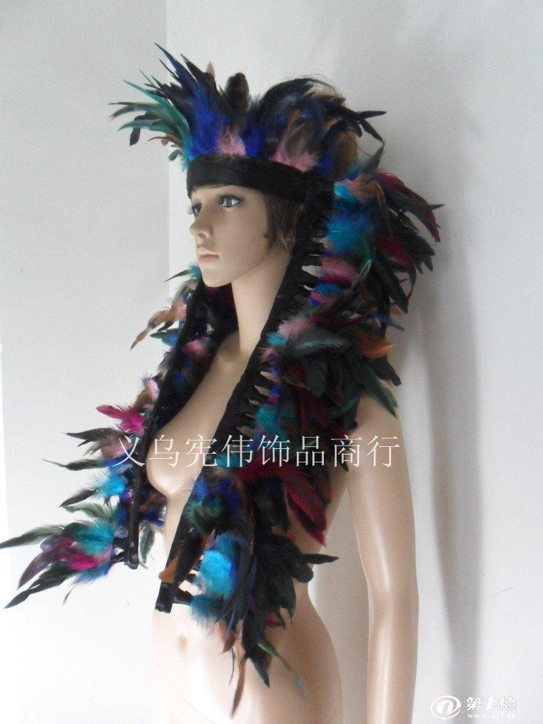 化装舞会装扮 彩色羽毛头饰 印第安人头饰 印第安酋长