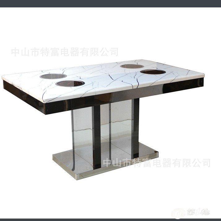不锈钢火锅餐桌 大理石面不锈钢火锅桌