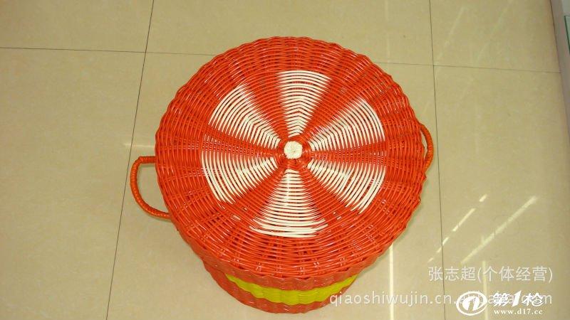 厂家批发带盖脏衣桶环保 pp塑料管编织洗衣筐 手编收纳筐