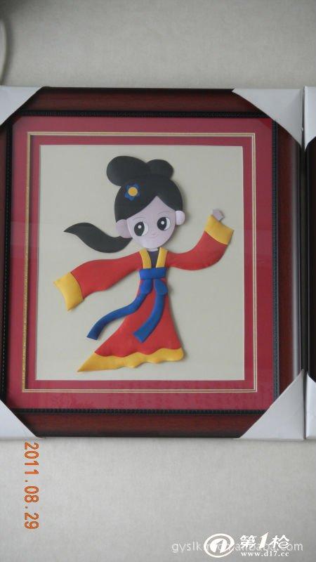 【支持批发】纯手工制作布艺粘贴画 国宝熊猫图片