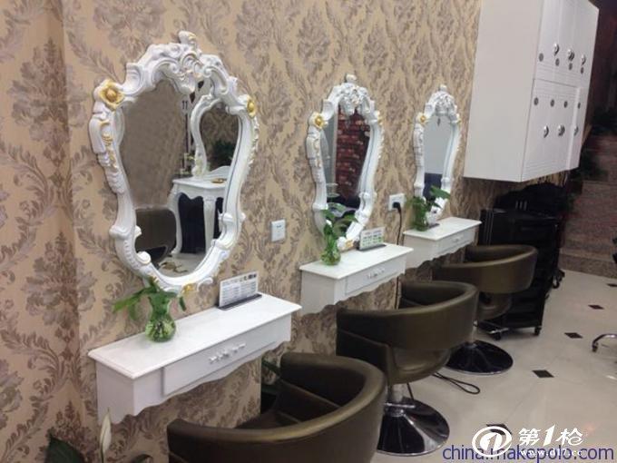 发廊镜子 理发镜台 美发化妆台 欧式理发镜 高档单面镜台批发