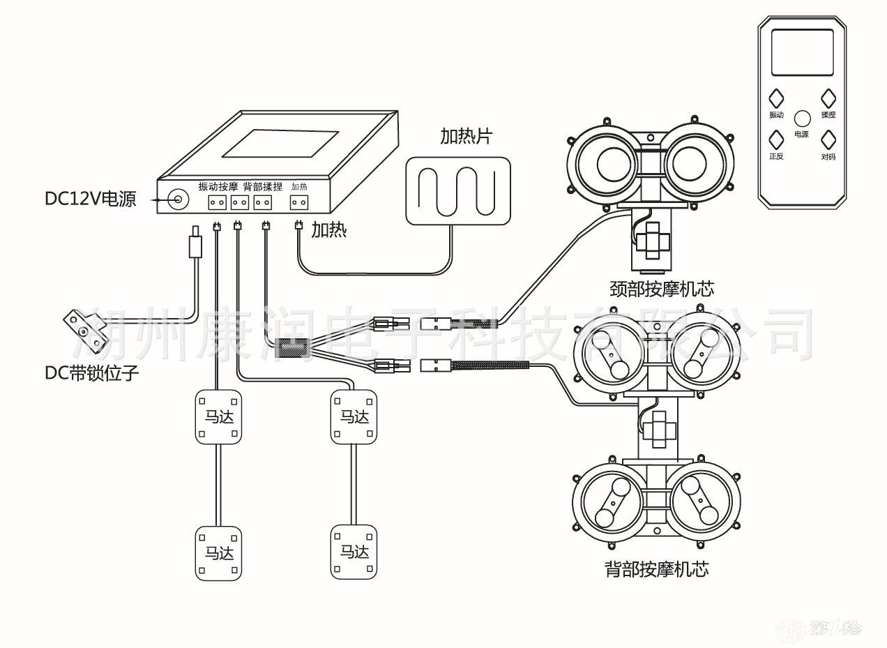 1, 按摩方式: 揉捏+振动按摩 2,工作时间:15分钟 3,振动模式:三种模式自动循环 4,揉捏模式:正转 反转,停止三档控制,可选配带叩击的机芯。 5,按摩部位:颈部,背部,腿部 6,自动关机功能 7,国内首创无线对码控制方式,采用大屏幕LCD液晶屏显示,高档典雅 8,热疗功能,可根据客户定制加热片尺寸大小,温度范围(60~70) 9, 面贴语言可按客户要求定制 10, 产品可提供CE/GS/UL/SAA等认证 11,所有线材采用标准线,部件采用对插联接,方便安装和更换。        电源:8WCE