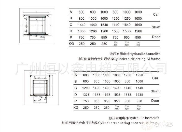 家用电梯 别墅电梯 观光电梯 载客小型电梯 载重320kg