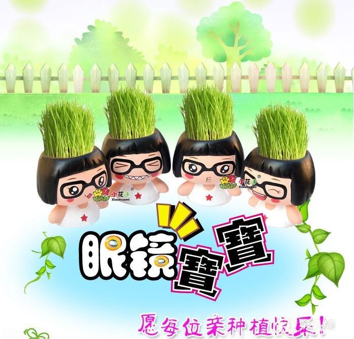 53眼镜宝宝 眼镜妹 桌面青草种植可爱菜菜diy盆栽 陶瓷草娃娃