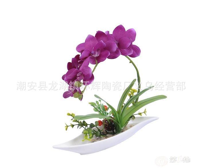 厂家直销 高级仿真花装饰花工艺插花 欧式家居蝴蝶兰