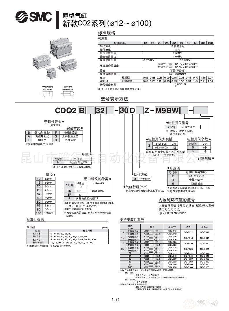 smc薄型气缸型号介绍参数信息cdq2b25-25d超低价促销图片