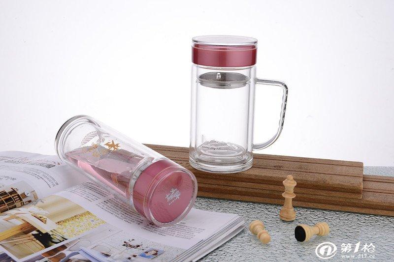 厂家直销专业礼品泉水瓶防漏杯创意玻璃杯定制印logo商务礼品杯